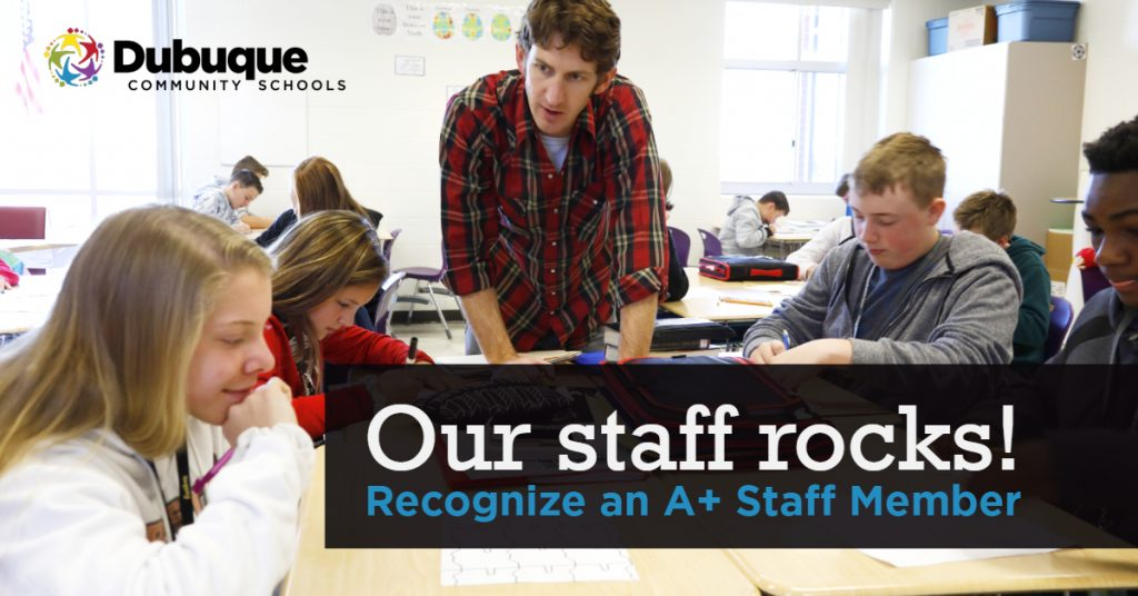 Our staff rocks! Recognize an A+ Staff Member