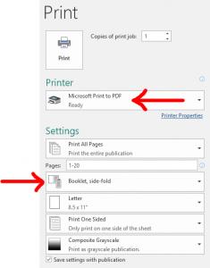 Screenshot of print settings for booklet orders.