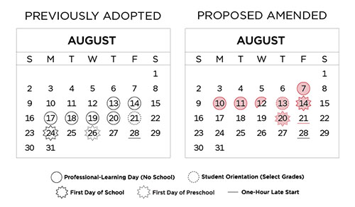 Amended Calendar Graphic showing changes from approved to ammended 2020-2021 calendar