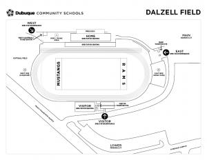 Map of Dalzell Field Spectator Entrances