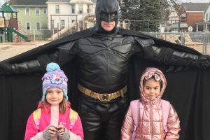 Batman with students