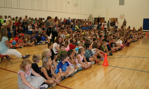News students gather in the gym for the first day of school