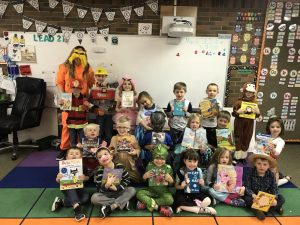Mrs. David's Kindergarten students wear book character costumes